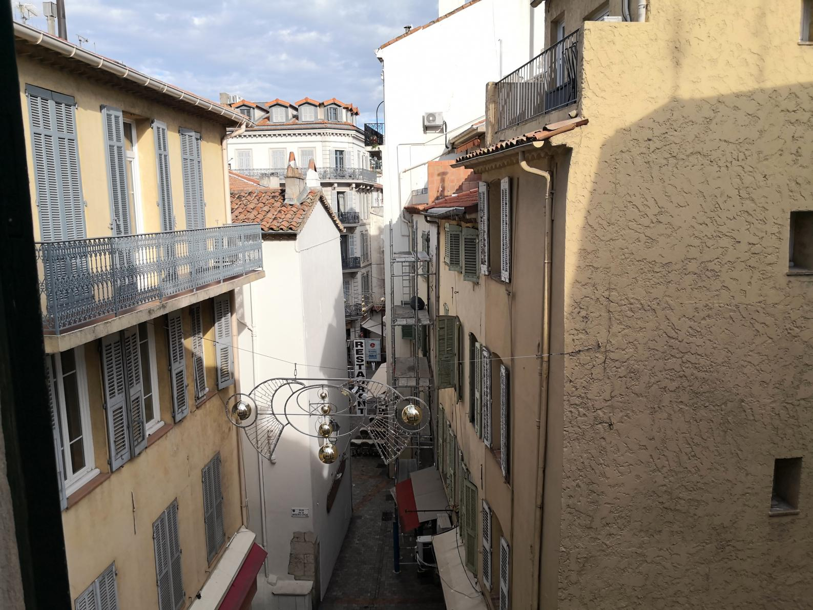 The view from the lounge window overlooking rue Meynadier