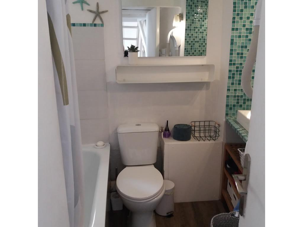 Full bathroom with a bath, shower head attached, toilet and sink