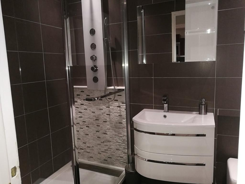 Luxury bathroom with shower and separate WC