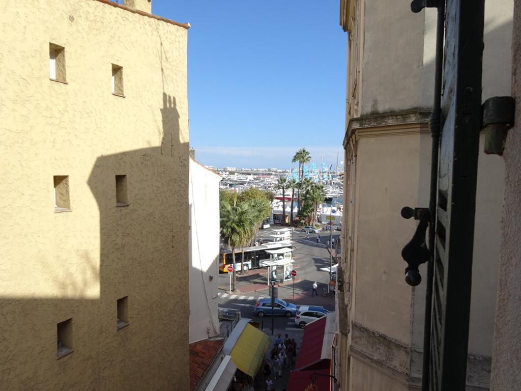 The view from the window looking to the right towards the Old Port of Cannes